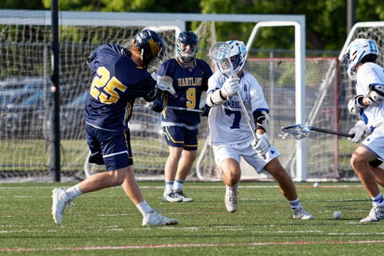 Hartland's Brandon Plemmons (25) scores one of his 31 goals last season in a state semifinal loss to Detroit Catholic Central.