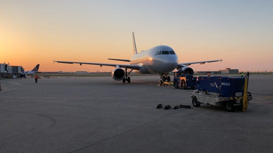 The inaugural American Airlines direct flight from Louisville Muhammad Ali International Airport to Los Angeles International Airport prepares to depart Wednesday, April 3, 2019.
