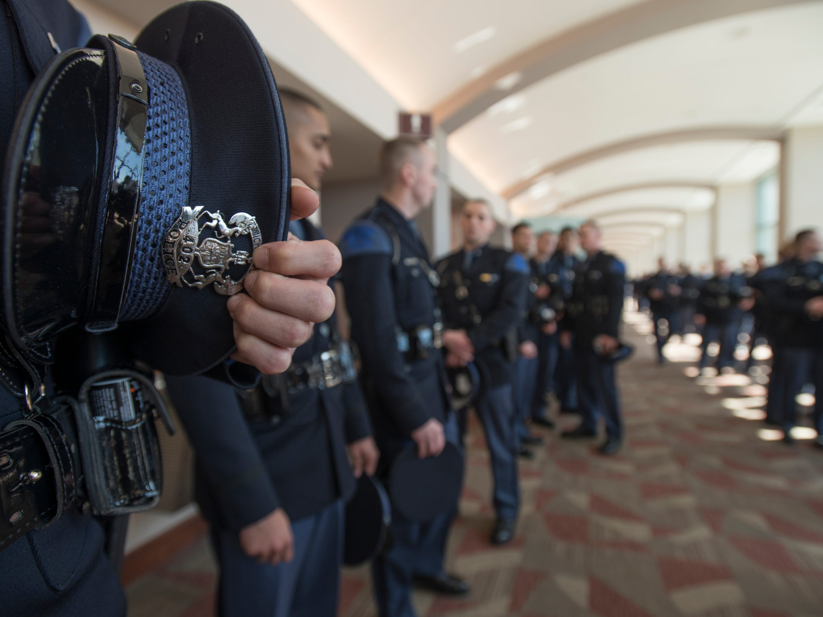 101 new Michigan State Police state troopers were sworn in Wednesday, April 3, 2019, during the 135th Michigan State Police Trooper Recruit School graduation at the Lansing Center in downtown Lansing.