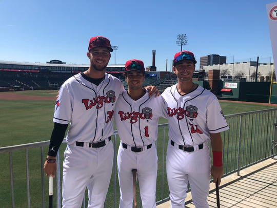 Jake Brodt (left), Dom Abbadessa (middle) and Hagan Danner (right) each played together at Huntington Beach (Calif.) High School and are now teammates with the Lansing Lugnuts.