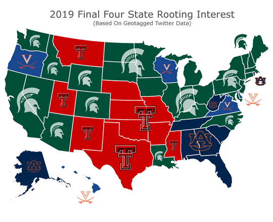 A map of 2019 Final Four rooting interest, based on geotagged Twitter data.