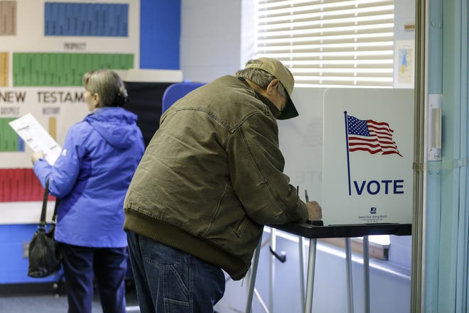 People vote in the local election at Lakeshore United Methodist Church Tuesday, April 2, 2019, in Manitowoc, Wis. Joshua Clark/USA TODAY NETWORK-Wisconsin