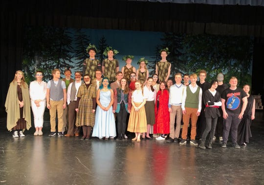 """Cast of Manitowoc Roncalli High School's """"The Lion, the Witch and the Wardrobe"""" spring 2019 play."""