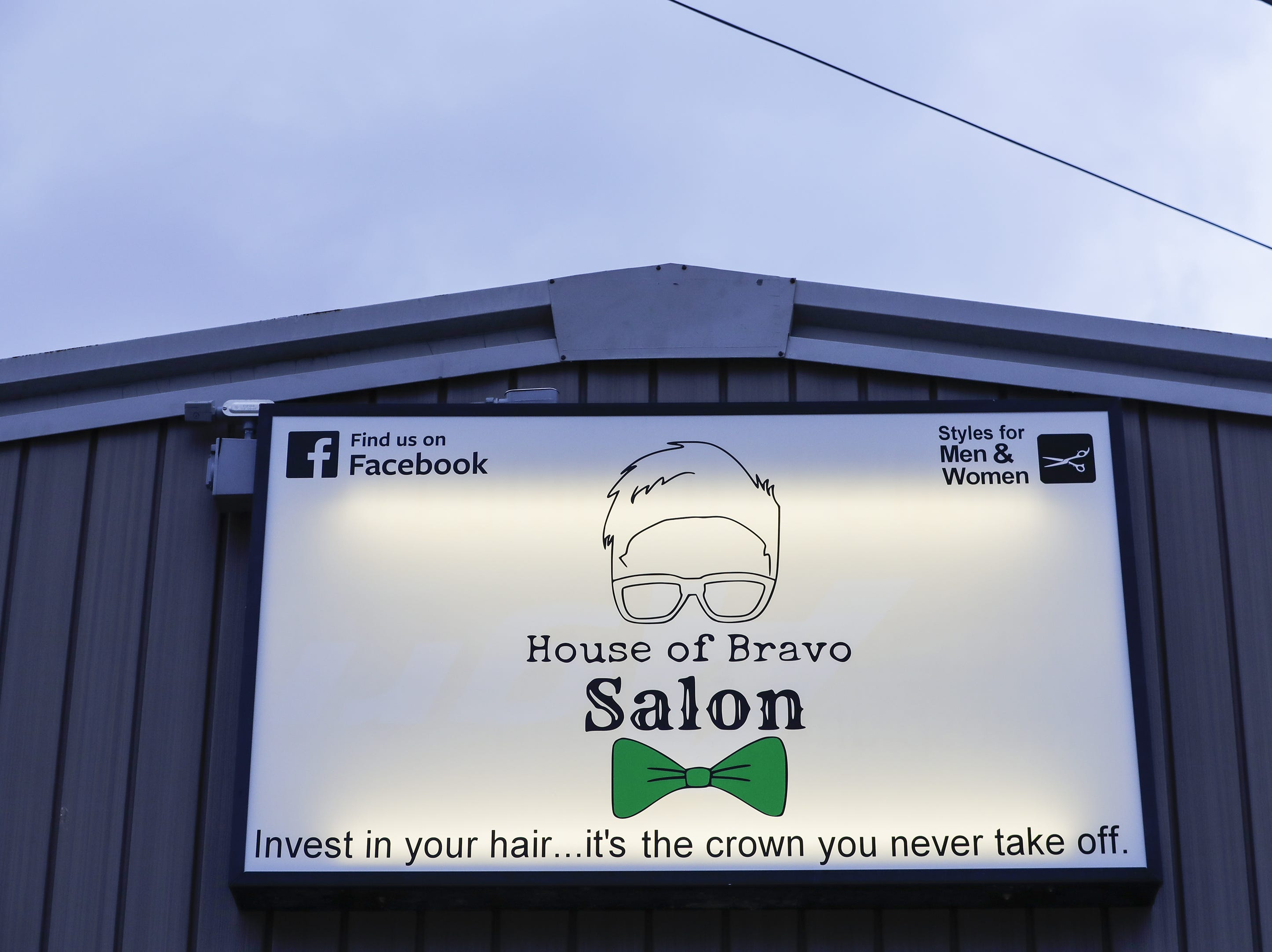 The logo for the House of Bravo Salon uses Jevon Lemke's likeness Monday, April 1, 2019, in Brillion, Wisconsin.