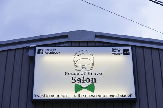 The logo for the House of Bravo Salon uses Jevon Lemke's likeness Monday, April 1, 2019, in Brillion, Wisconsin.