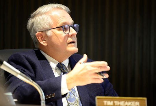 Mayor Tim Theaker at a city council meeting on April 2, 2019.