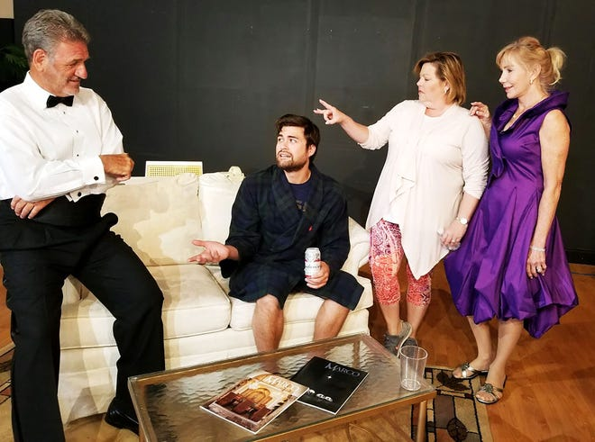 "The cast of ""Black Tie,"" from left, Ron Pirello as Curtis, Brian Phillip Stewart as Teddy, Robin Bache Gray as Elsie and Joan Benz as Mimi."