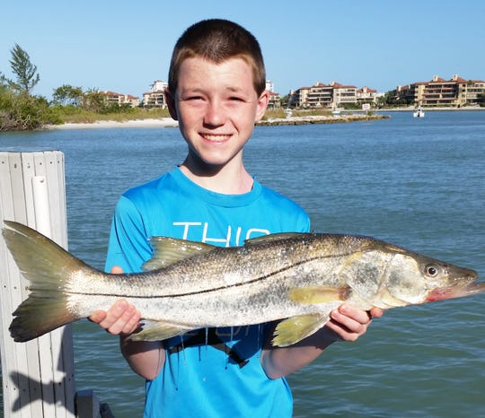 "Sean Gregorius, a 12-year old visitor from Wisconsin, caught this 29"" snook off the docks of Collier Creek."