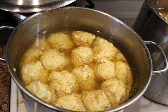 Gefilte fish balls cook for three hours in a special fish broth.