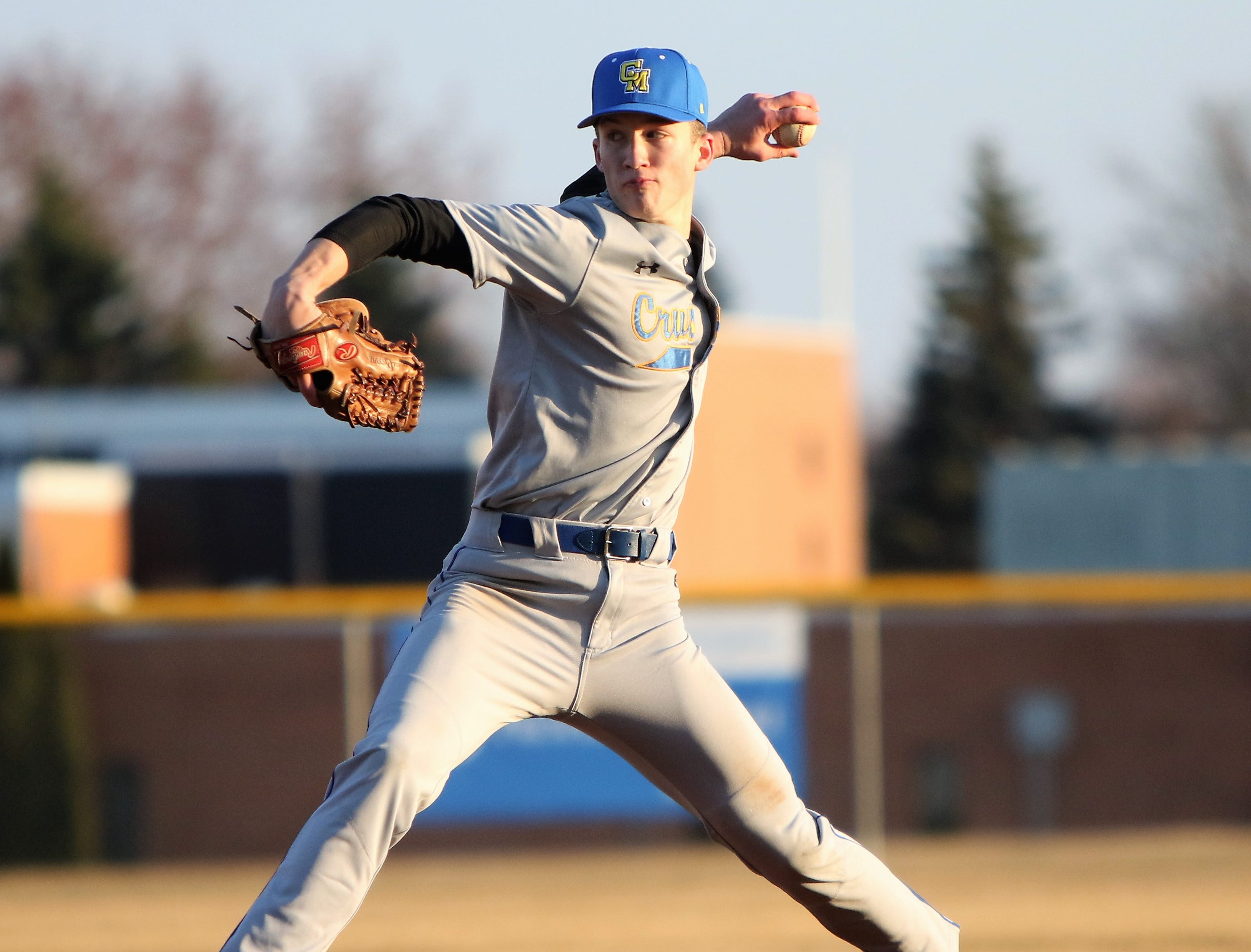 Catholic Memorial pitcher Luke Fox delivers a pitch against Arrowhead on April 2, 2019.