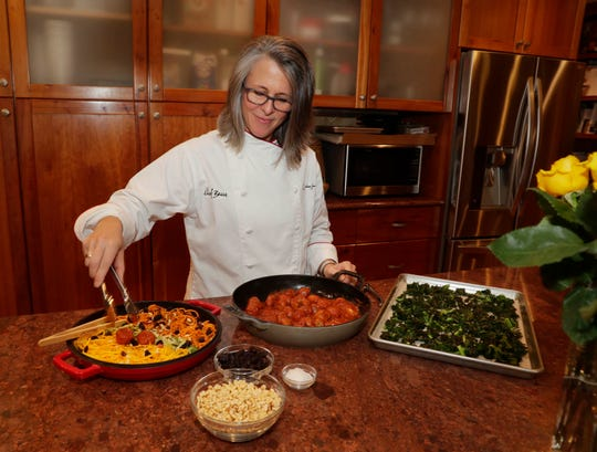 "Chef Rebecca Guralnick prepares  Passover ""spaghetti"" (vegetable spirals) and meatballs as a Passover dish."