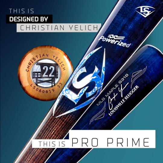 Christian Yelich's Pro Prime bat is inspired by the California beach.