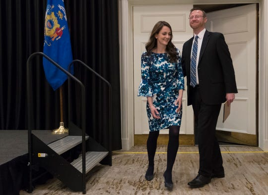 Brian Hagedorn and his wife, Christina, arrive at the Ingleside Hotel in Waukesha for a news conference Wednesday where he declared his victory in the tight Wisconsin Supreme Court race.