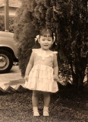 The author, May Klisch, as a little girl in Singapore.