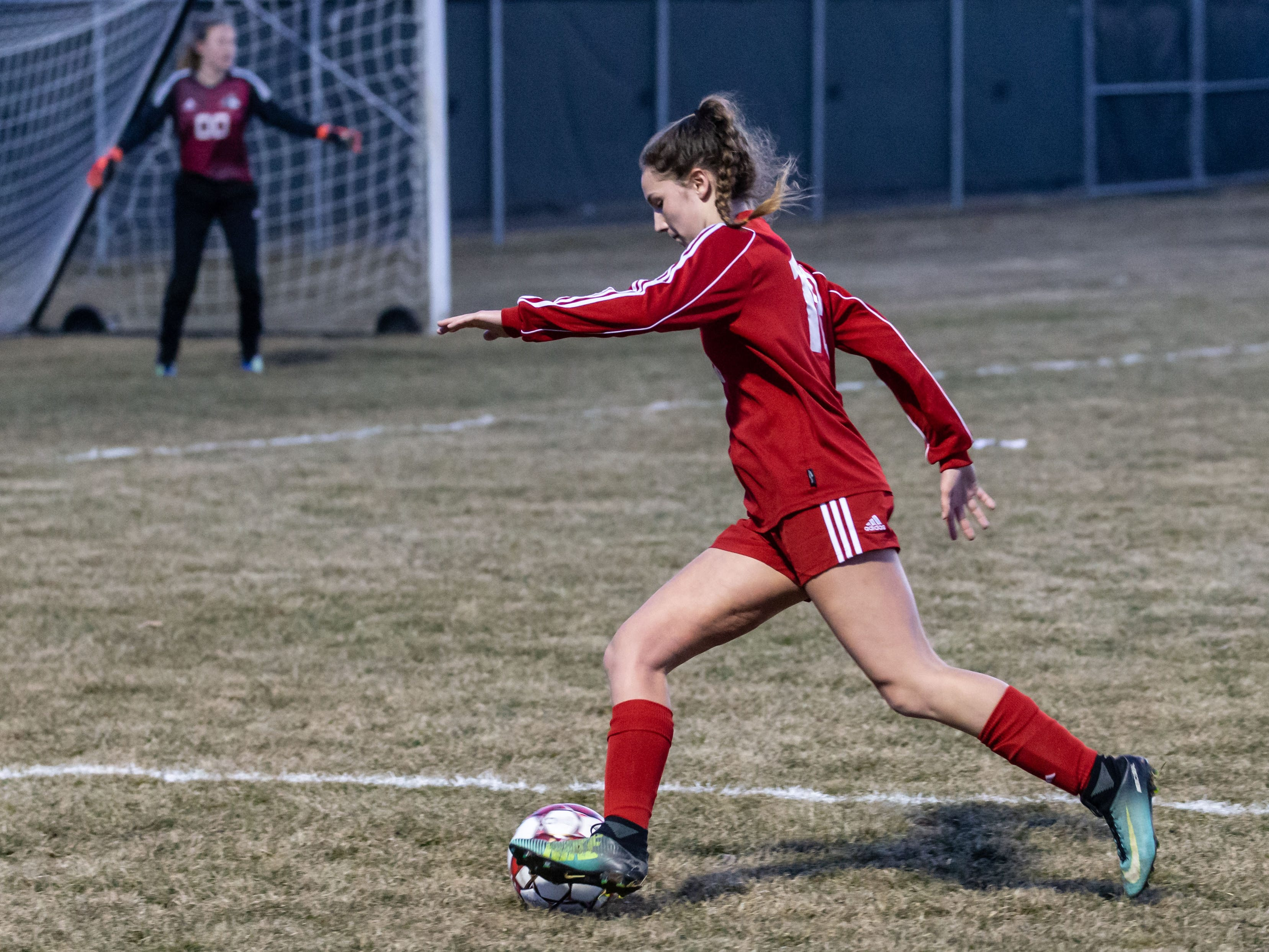 Hamilton's Ellie Heberer (18) moves into position to score during the game at home against West Allis Hale on Tuesday, April 2, 2019.