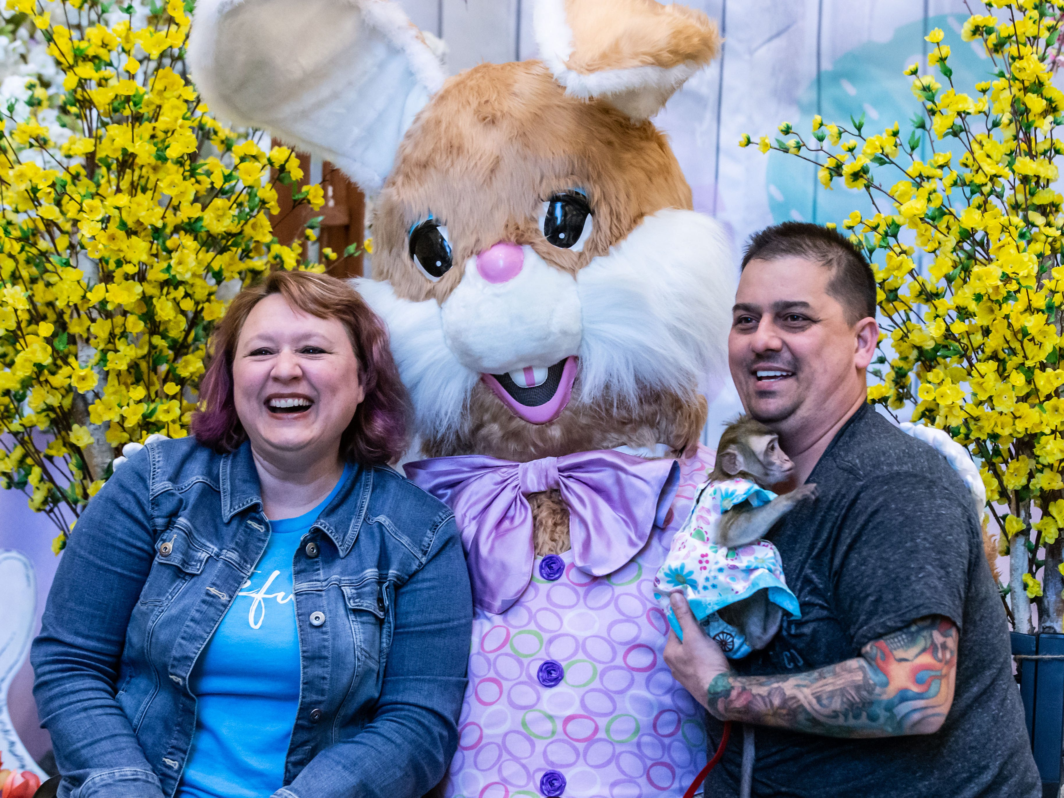 "Lynn and Mike Tachick of Waukesha brought ""Abby"" their ten-month-old Java Macaque to visit with the Easter Bunny on ""Pet Night"" at Center Court in Brookfield Square Mall on Monday, April 1, 2019. The bunny will be at the mall Monday through Saturday 10am - 9pm and Sunday 11am - 6pm through Saturday, April 20. Pets are welcome to visit from 6-9pm on Monday, April 1, 8 & 15."
