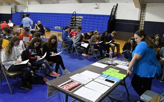 'Students' spend the week at school during the poverty simulation held Wednesday at Mountain Home High School.