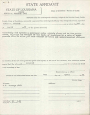 Louisiana State Police affidavit of Elvis Presley speeding stop in Caddo Parish