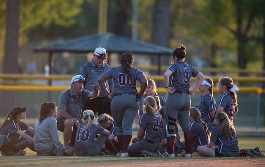Alabama Christian coach Chris Goodman talks with his team after the game at Lagoon Park in Montgomery, Ala., on Tuesday, April 2, 2019. Alabama Christian defeated LAMP 6-4.