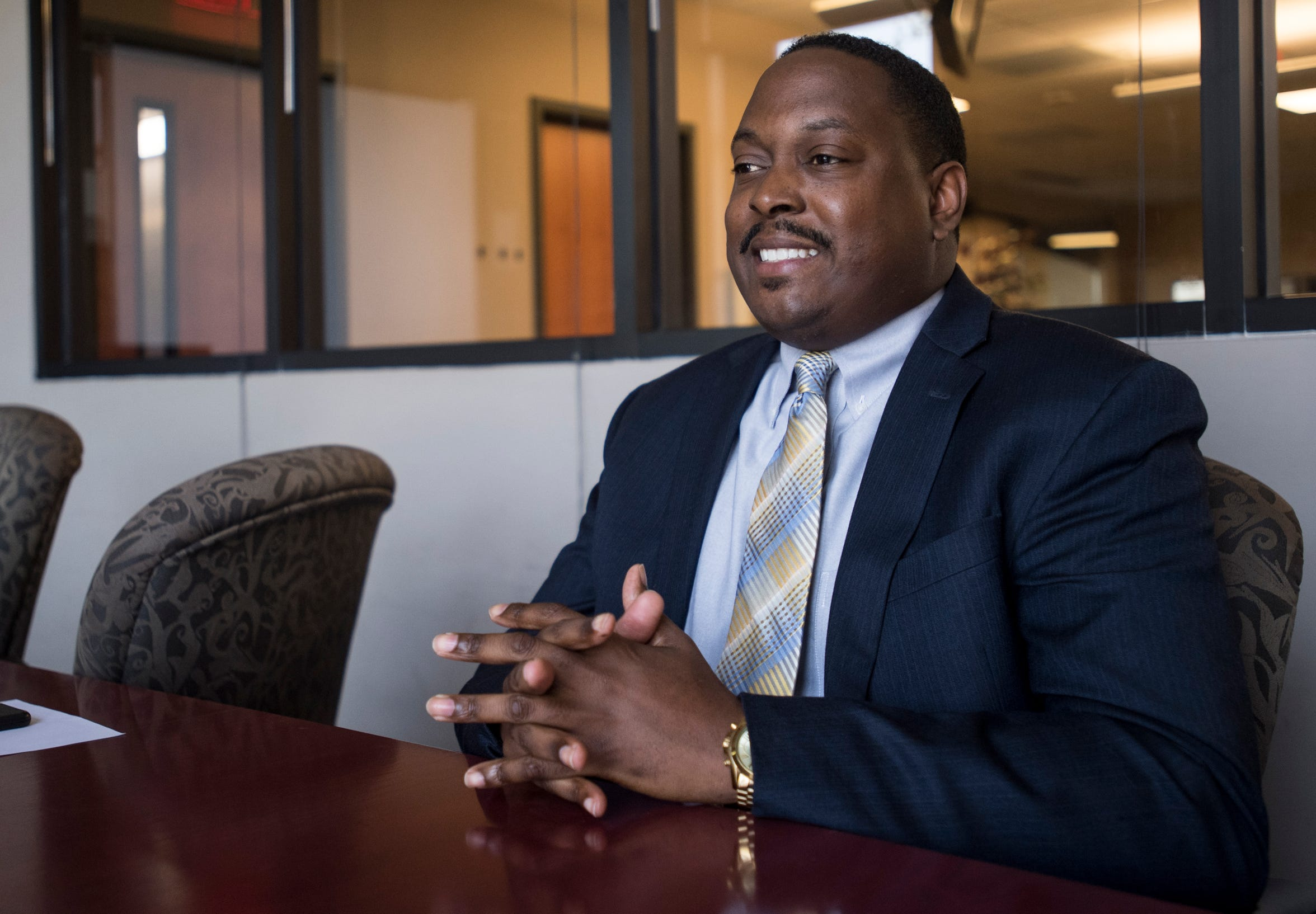 City Council district 1 candidate Carlton Avery is interviewed in Montgomery, Ala., on Wednesday, April 3, 2019.