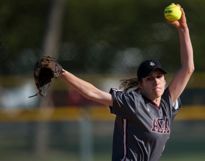 Alabama Christian's Haley Pittman (6) pitches against LAMP at Lagoon Park in Montgomery, Ala., on Tuesday, April 2, 2019. Alabama Christian defeated LAMP 6-4.