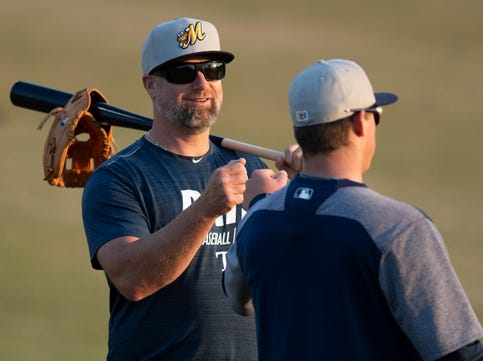 Montgomery Biscuits Manager Morgan Ensberg at the Biscuits workout at Riverwalk Stadium in Montgomery, Ala., on Tuesday April 2, 2019. The first home game of the season for the Biscuits in Wednesday April 10th.