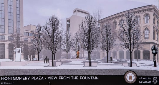An artists rendering of the future Montgomery Plaza is show during the groundbreaking for the plaza at Court Square in Montgomery, Ala., on Wednesday April 3, 2019.