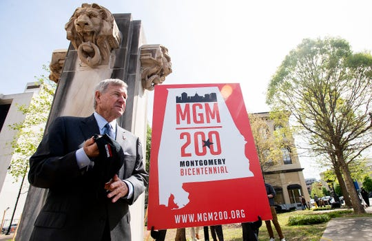 Montgomery Mayor Todd Strange during the groundbreaking ceremony for Montgomery Plaza at Court Square in Montgomery, Ala., on Wednesday April 3, 2019.