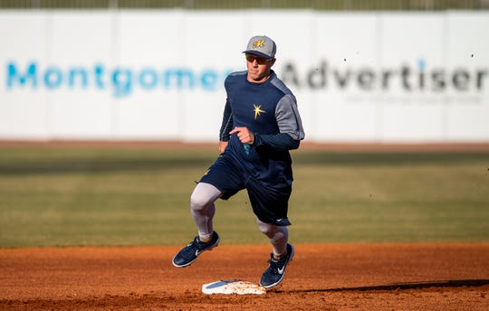 Brendan McKay during the Montgomery Biscuits workout at Riverwalk Stadium in Montgomery, Ala., on Tuesday April 2, 2019. The first home game of the season for the Biscuits in Wednesday April 10th.