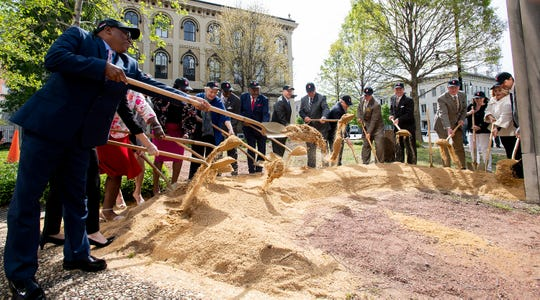 A ceremonial groundbreaking is held during the groundbreaking ceremony for Montgomery Plaza at Court Square in Montgomery, Ala., on Wednesday April 3, 2019.