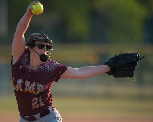 LAMP's Taylor Cassidy (21) pitches against Alabama Christian at Lagoon Park in Montgomery, Ala., on Tuesday, April 2, 2019. Alabama Christian defeated LAMP 6-4.
