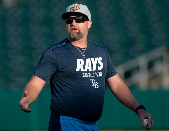 Montgomery Biscuits Manager Morgan Ensberg during the Biscuits workout at Riverwalk Stadium in Montgomery, Ala., on Tuesday April 2, 2019. The first home game of the season for the Biscuits in Wednesday April 10th.