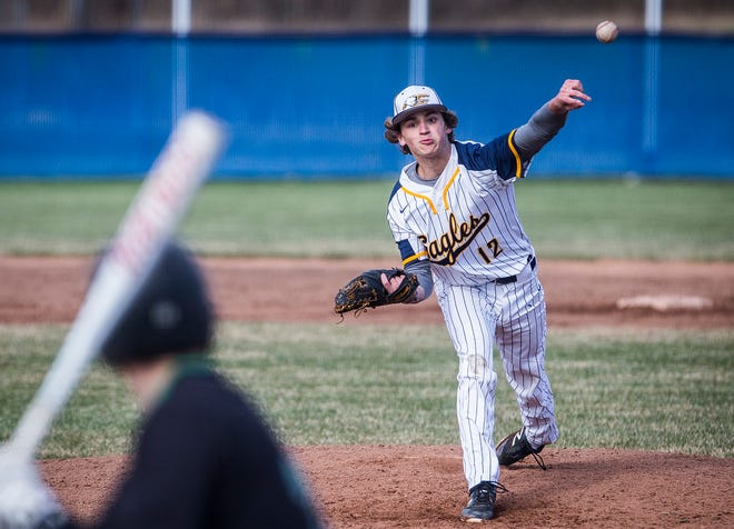 FILE -- Delta's Tyson Shaw pitches against Yorktown during a game at Delta High School on Tuesday, April 2, 2019. Shaw received, and accepted, an offer to play at Northern Kentucky University this summer.