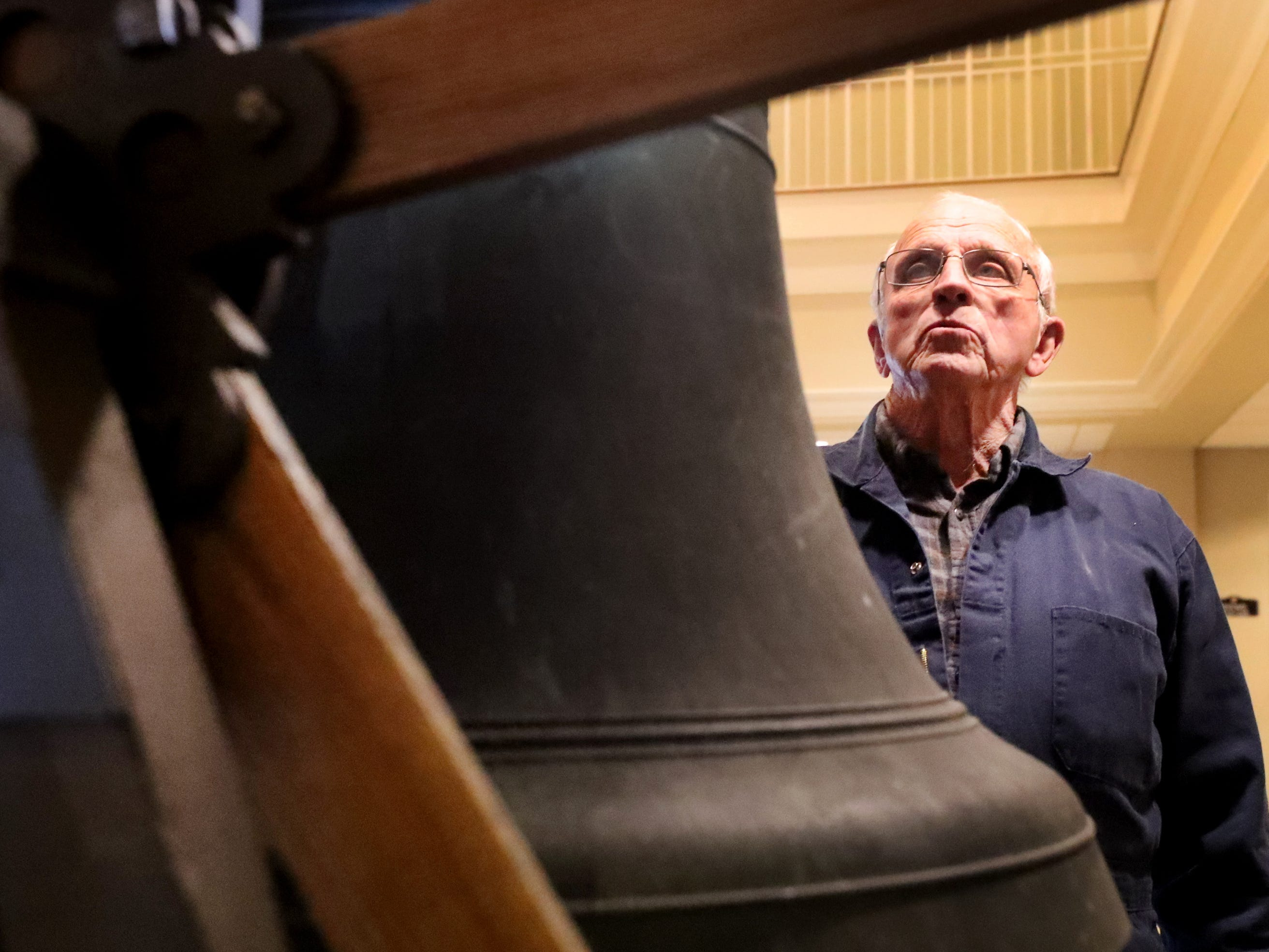 John Sallee, helps install the old bell that was once located in the former First Methodist Church site in downtown Murfreesboro, to the new church site on Thompson Lane, on Tuesday April 2, 2019.