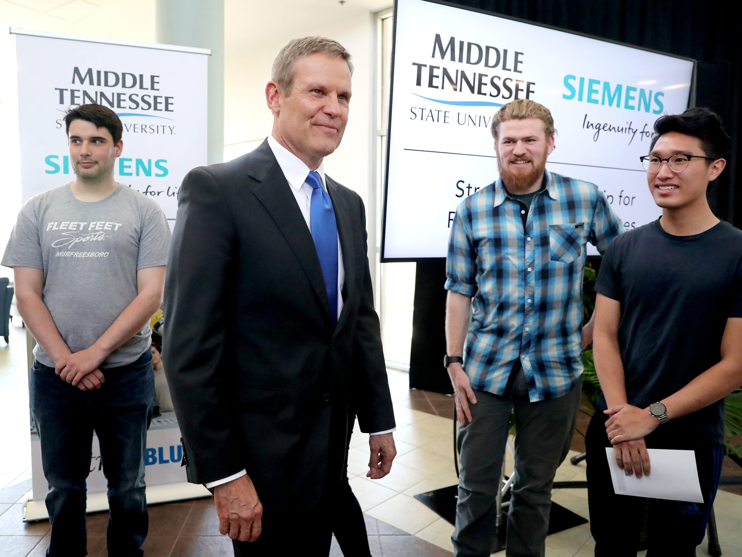 Tennessee Governor Bill Lee meets some of the MTSU Mechatronic students after speaking at the school's program recognizing the Siemens' grant to MTSU's Mechatronics Engineering program, on Wednesday April 3, 2019.
