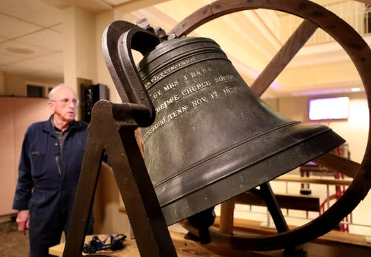 John Sallee rings the bell at First United Methodist Church on Tuesday April 2, 2019. The bell, which once occupied the tower of the historic church in downtown Murfreesboro, was relocated to the new church building on Thompson Lane.