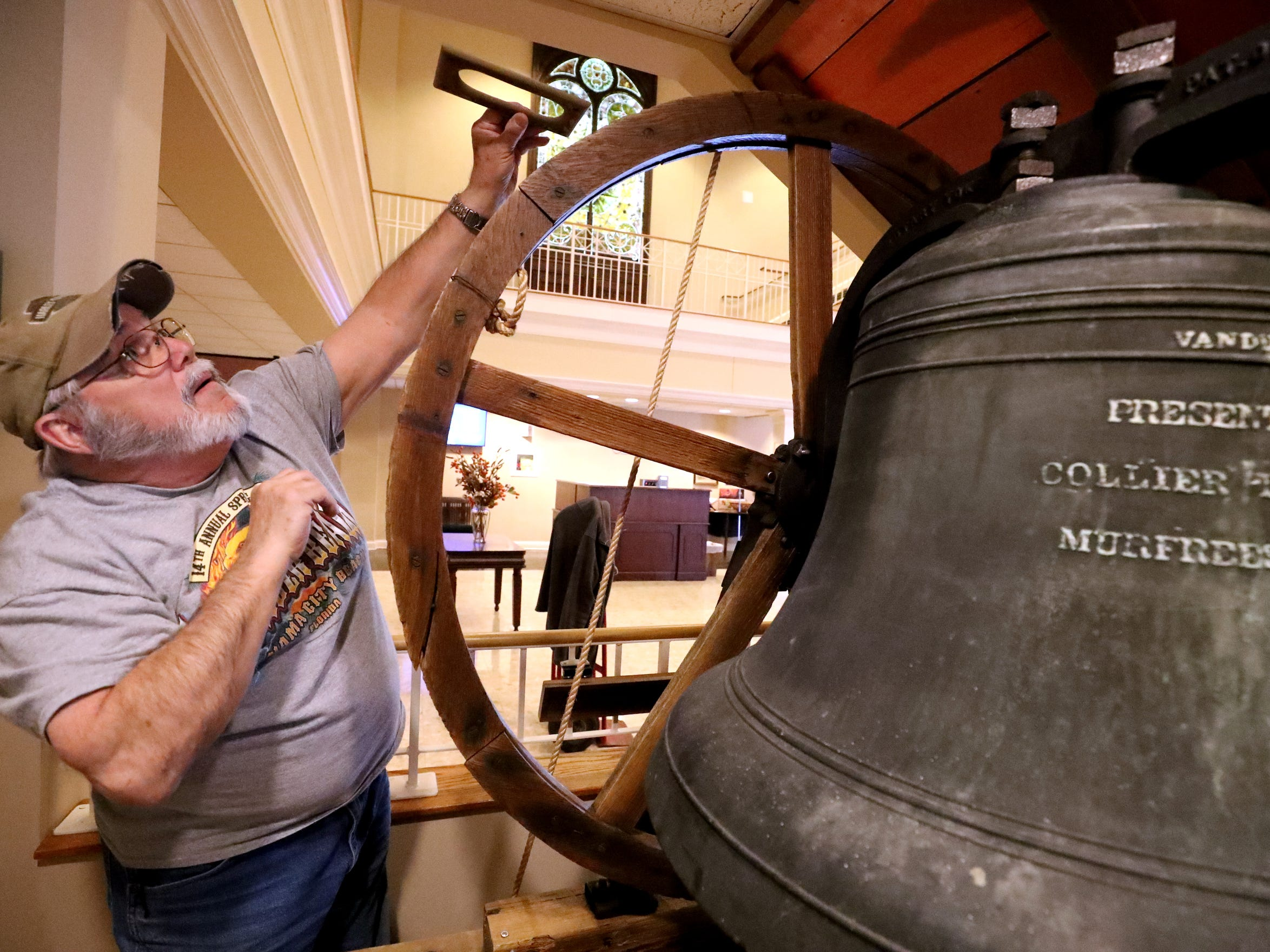 Ron Lindsey helps to install the old bell from the former First Methodist Church, in downtown Murfreesboro to the new First Methodist Church site in downtown Murfreesboro, on Thompson Lane, on Tuesday April 2, 2019.