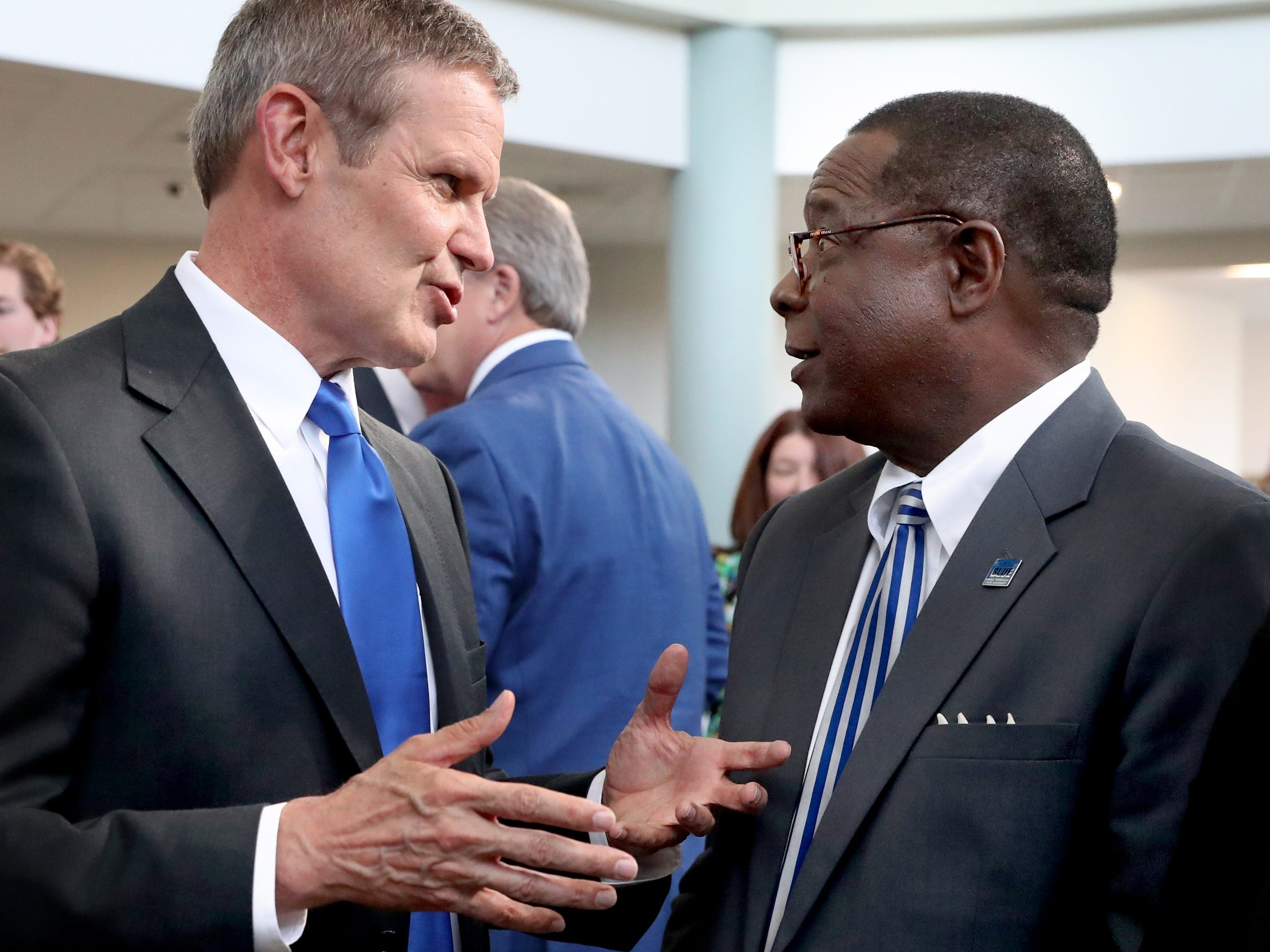 Tennessee Governor Bill Lee, left speaks with MTSU President Sidney McPhee after the Governor spoke at MTSU's program recognizing the Siemens' grant to MTSU's Mechatronics Engineering program, on Wednesday April 3, 2019.
