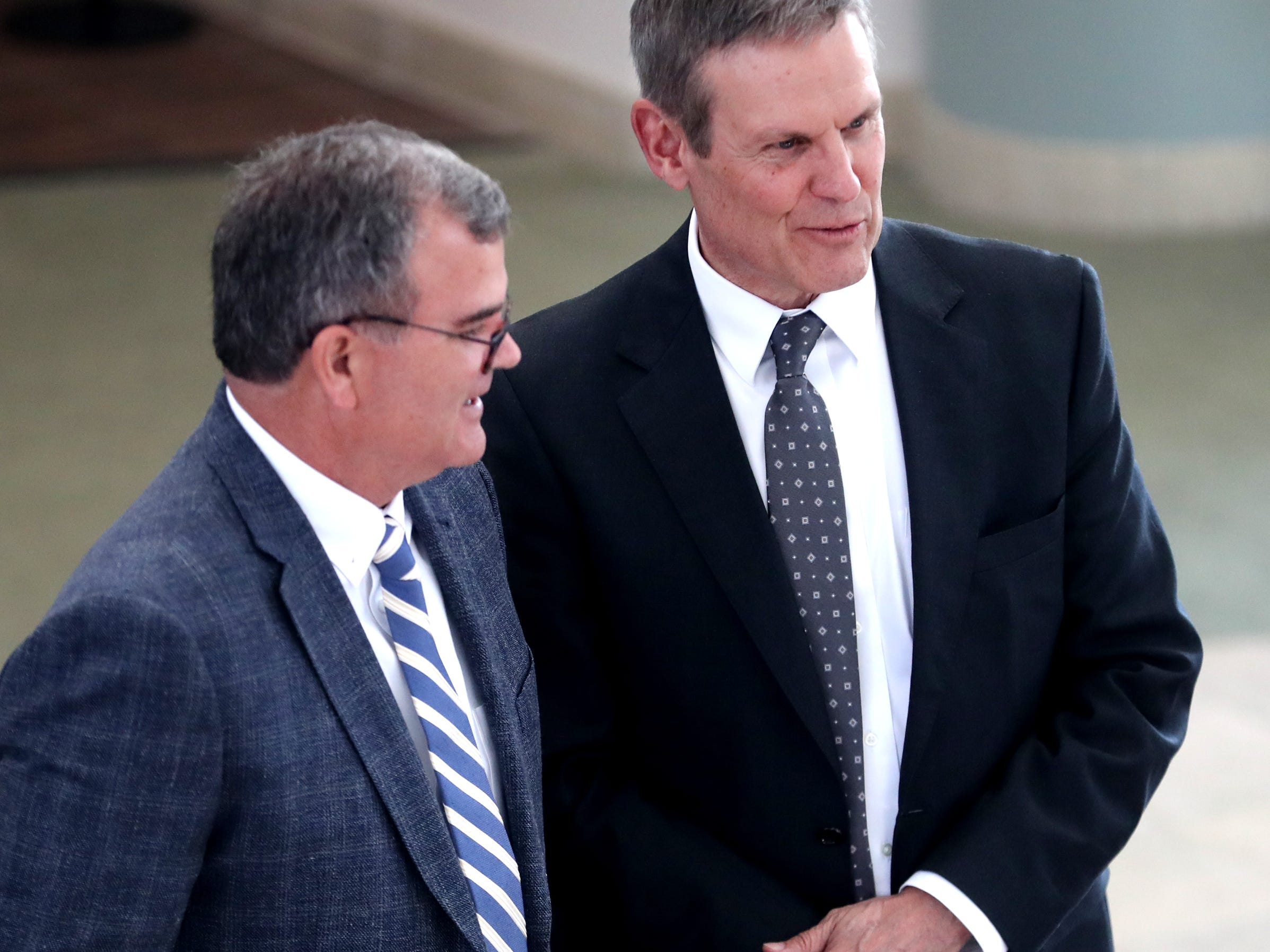 Tennessee Governor Bill Lee talks with Ed Elam before Lee spoke at MTSU's program recognizing the Siemens' grant to MTSU's Mechatronics Engineering program, on Wednesday April 3, 2019.