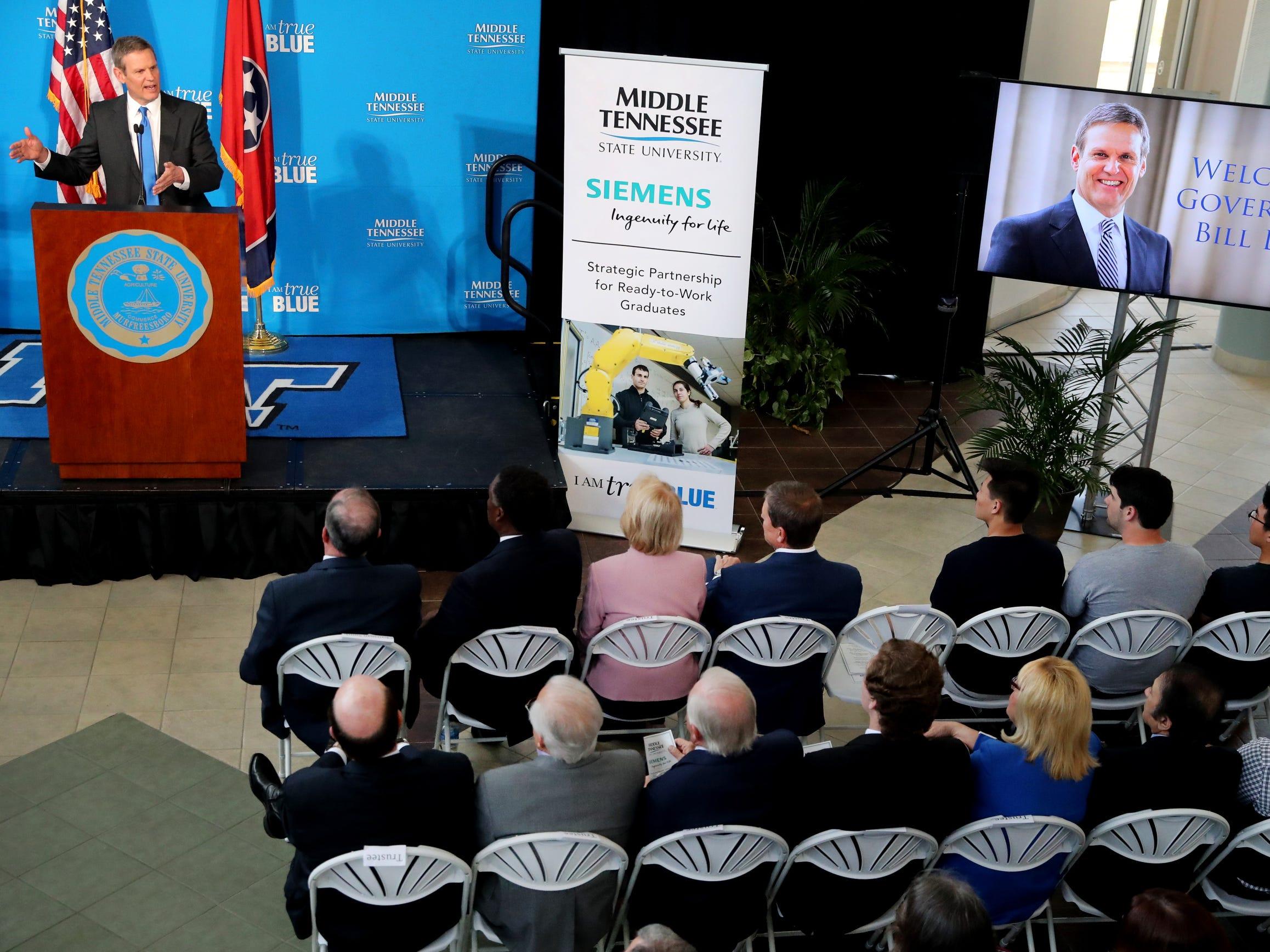 Tennessee Governor Bill Lee spokesman at MTSU's program recognizing the Siemens' grant to MTSU's Mechatronics Engineering program, on Wednesday April 3, 2019.