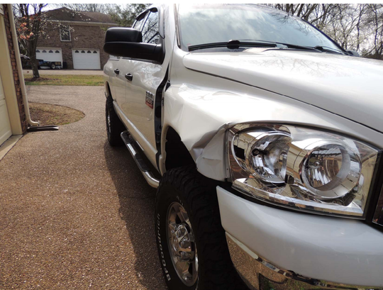 Damage to Joshua Kellon's pickup truck after he struck Jennifer Carman while she was jogging on the shoulder of Edmondson Pike in Brentwood in 2017.