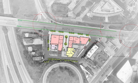 The planned layout for two West End towers at 3419 Murphy Road