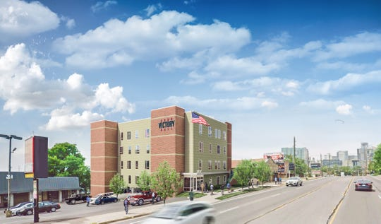 A rendering of Curb Victory Hall, a 39-unit apartment project for homeless veterans to begin construction this month at Edgehill and 12th Avenue South