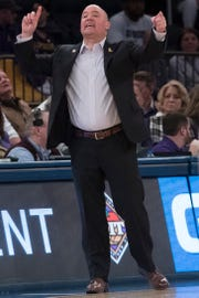 Lipscomb head coach Casey Alexander reacts during the first half of the semifinal in the National Invitational Tournament against Wichita State on April 2.