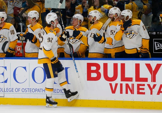 Nashville Predators forward Ryan Johansen (92) celebrates his goal during the third period of an NHL hockey game against the Buffalo Sabres Tuesday, April 2, 2019, in Buffalo, N.Y.