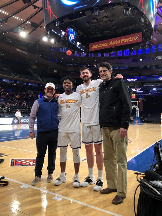 FRA coach John Pierce, right, watched two of his former players in the NIT semifinals this week. From left: FRA assistant Jay Salato, Lipscomb's Kenny Cooper, Rob Marberry and Pierce.