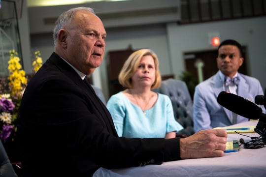 The Rev. Charles Fels speaks during a news conference asking Gov. Bill Lee to commute Donnie Edward Johnson's death sentence Wednesday, April 3, 2019. Johnson, 68, was sentenced to death for the Dec. 8, 1984, murder of his wife Connie Johnson.