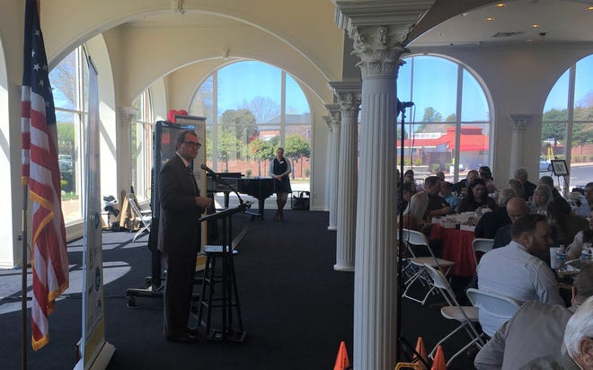 Sumner County Director of Schools Del Phillips addresses a crowd at the Hendersonville Chamber's State of the County luncheon Tuesday, April 2, 2019.