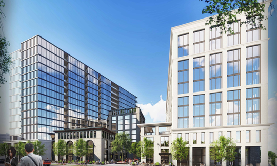A rendering of two planned 16-story towers at 3419 Murphy Road in West End