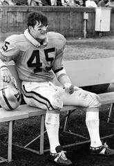Vanderbilt star linebacker Chip Healy takes a break while the offense faces Tulane. The Commodores used a strong running game to roll past Tulane 21-7 before a homecoming crowd of 16,469 at Dudley Field Nov. 2, 1968.